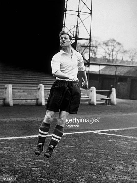 Preston North End footballer Tom Finney in action during a training session