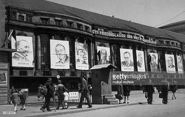 Large scale portraits which were put up on the occasion of the Third Parliament of the Free German Youth at Leipzig in the Soviet Zone East Germany...