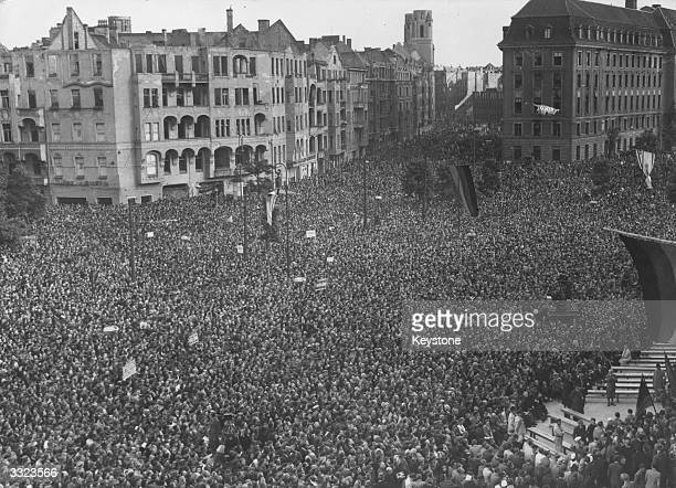 Members of the new Govenment speak to Berliners following the lifting of the Berlin Blockade Nearly half a million people gather at Schoneberg...