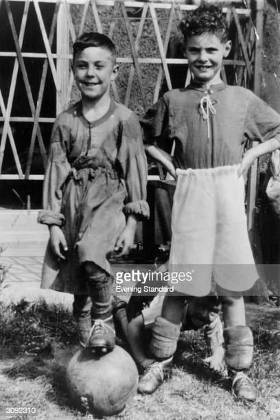 On the left, soccer star Jimmy Greaves when an aspiring and very young player.
