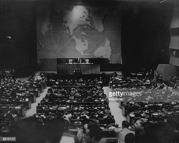The United Nations General Assembly at Flushing, New York, following the announcement that Russia has the Atomic Bomb.
