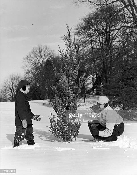 A boy and his father inspect a small evergreen tree during a Christmas tree hunt in a snowy field The father holds an ax