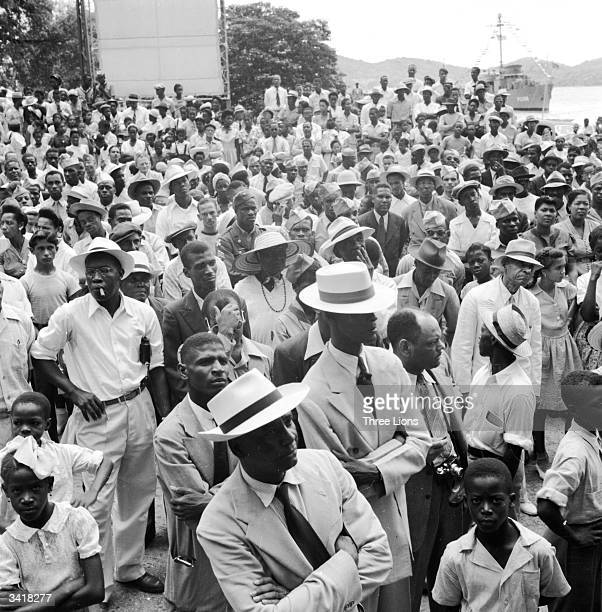 A crowd of Virgin Islanders on St Thomas Island attending a public ceremony in Emancipation Park Charlotte Amalie