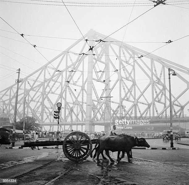 A farmer and his oxcart trudge past the girders of the Howrah bridge over the Hooghly river in Calcutta