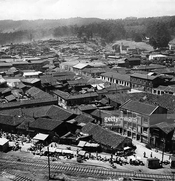 A general view of the coal mine and ceramic plant town of Lota near Concepcion