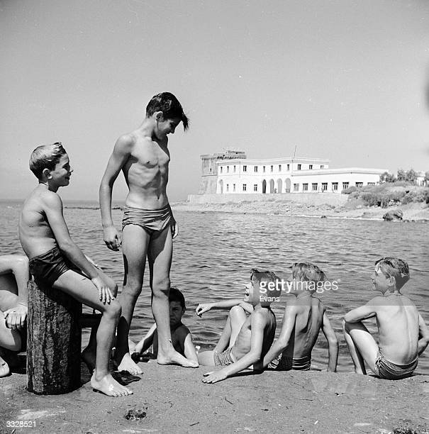 A group of boys enjoy the Italian coast