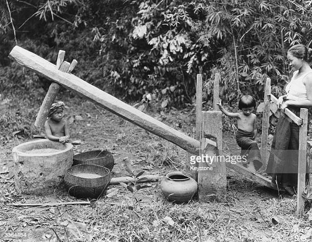 A home made rice mill in Indonesia