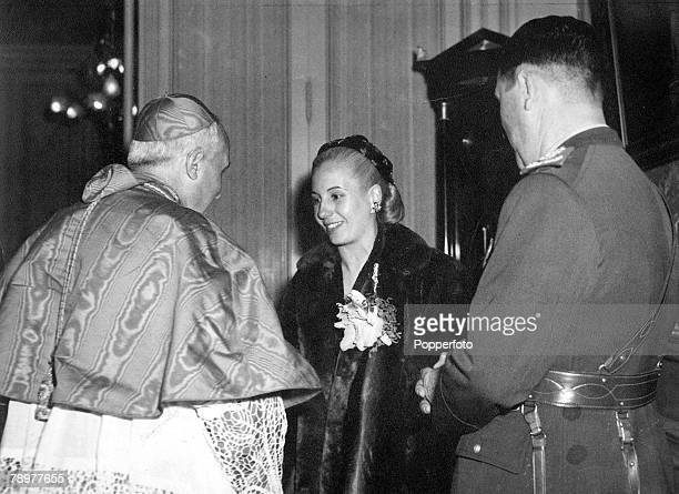 Circa 1950 A picture of Argentinian president Juan Peron with his wife Eva Peron when they met Pope Pius XII