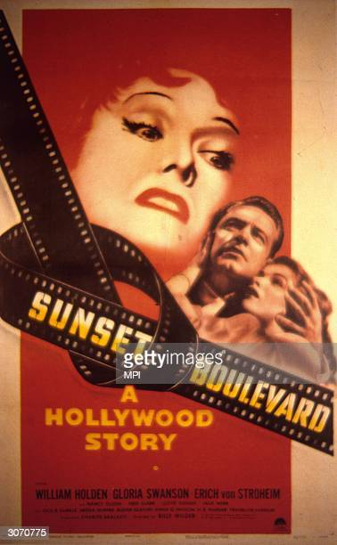 A poster for 'Sunset Boulevard' starring Gloria Swanson and William Holden
