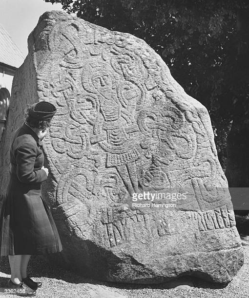 A runic stone at Jelling in Jutland erected by Harald Gormsson to proclaim his conversion of Denmark to Christianity
