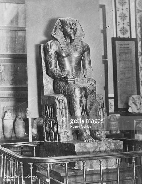 A statue of Khafra king of Egypt 2nd king of the 4th dynasty at the Boulac Museum The statue is made of diorite the veins are of hornblende