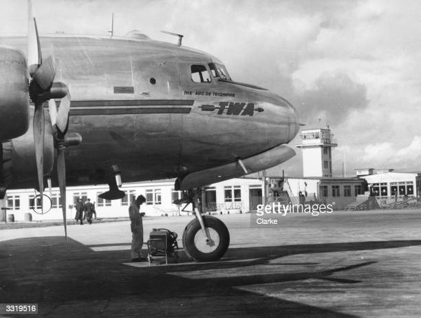A TWA passenger plane at Shannon Airport at Rineanna County Clare Ireland