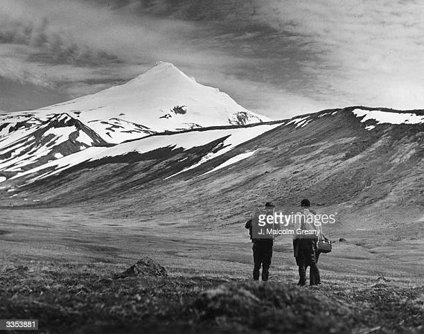 A typical scene of the Aleutian Islands with a volcanic cone in the background