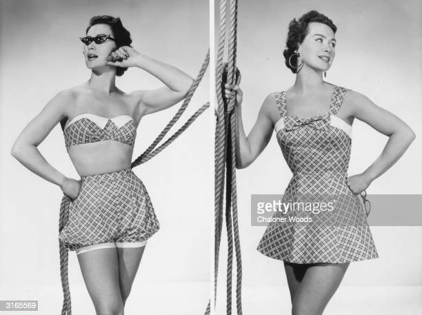 A woman modelling two plaid beach outfits one consisting of puffed shorts and a bra top and the other of a short sundress with a bow at the neck