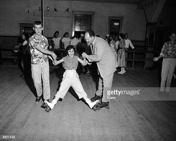 A young woman being rescued from a fall on her roller skates whilst attempting to take part in a sponsored skate at her Sunday School in Lynchburg...