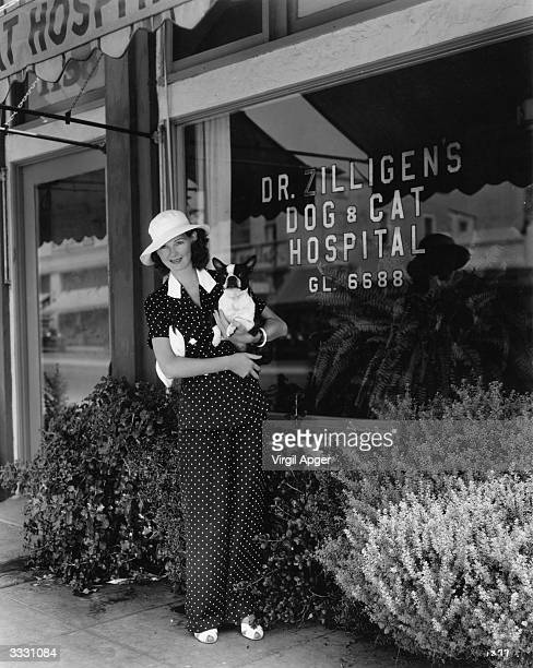 Actress Elizabeth Allan takes her dog to see Dr Zillingen in his Dog and Cat Hospital Hollywood
