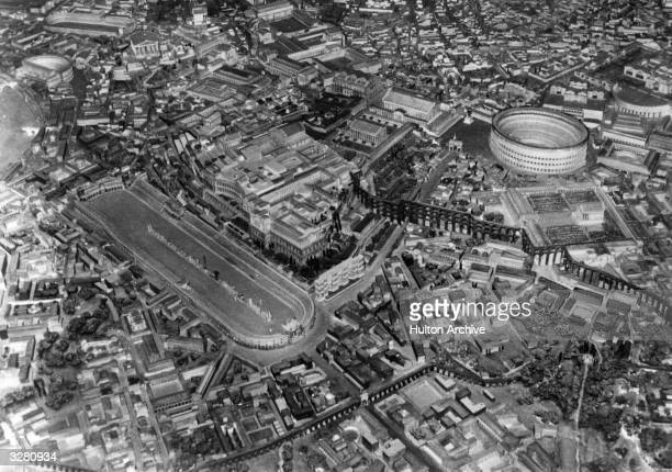 An Aerial view of Rome and it's ancient landmarks including the Colosseum and surrounding area