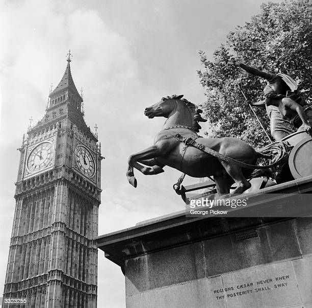 Big Ben is the great bell in the clock tower on the eastern end of the Houses of Parliament in London The statue of Queen Bodicea is in the foreground