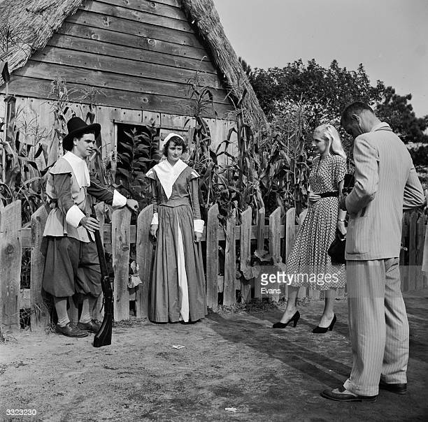 Citizens of Plymouth, Massachusetts, New England, re-enacting an event from 1620 when the Pilgrim Fathers settled in the New World. A tourist...