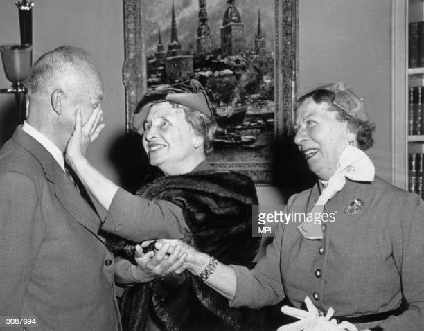Deaf and blind American activist writer and lecturer Helen Keller with Dwight Eisenhower the 34th President of the United States