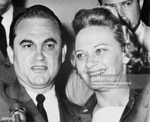 George Corley Wallace governor of Alabama from 1963 to 1967 with his wife and successor to the governorship Lurleen Wallace Photo by...