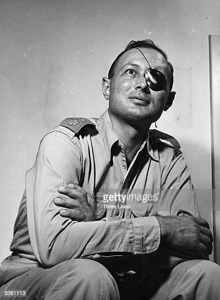 Israeli soldier and statesman Moshe Dayan wearing his famous patch after having lost an eye in battle