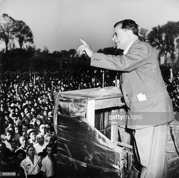 Italian communist leader Palmiro Togliatti addresses a crowd in Rome
