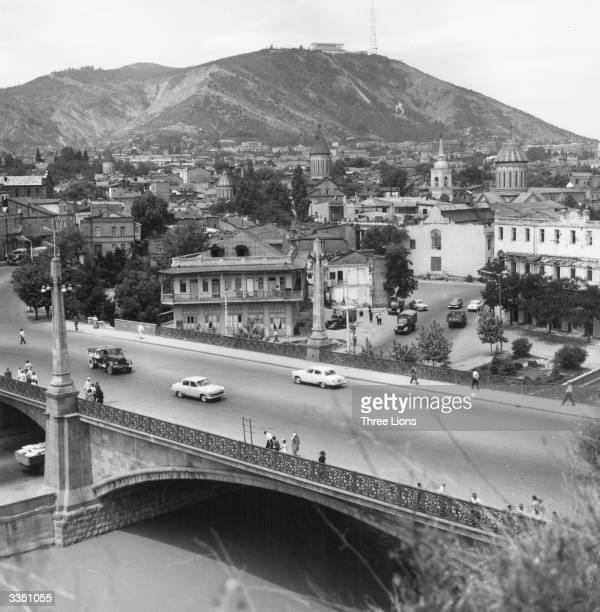 Matechi bridge over the Kura river links the two parts of old Tiflis the state capital of Georgia