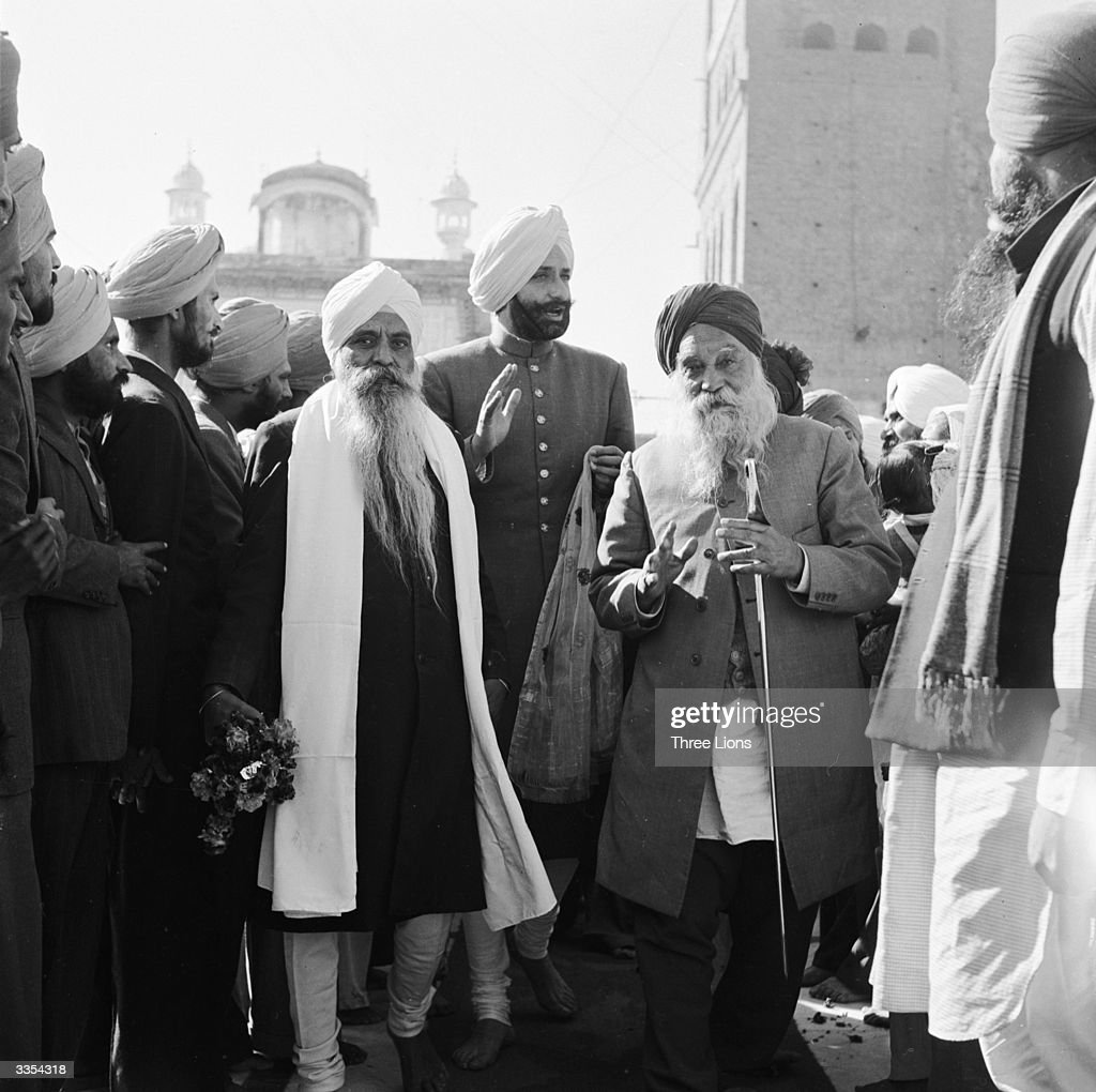 On the birthday of Gobind Singh last of the great Sikh religious leaders the Maharajah of Patiala visits the Golden Temple at Amritsar