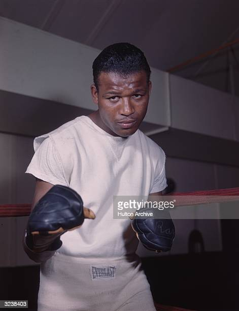 Portrait of American boxer and world welterweight champion Sugar Ray Robinson wearing white shorts and Tshirt posing in a fighting stance at a gym