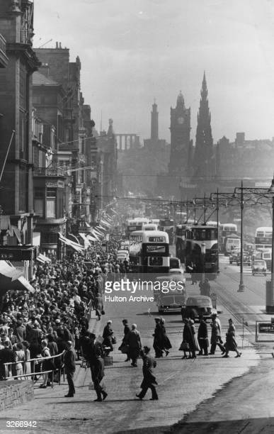 Princes Street the main shopping street of Edinburgh packed with shoppers and traffic Princes Street named after George III's sons was designed by...