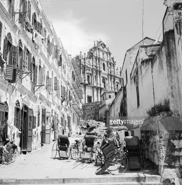 Rickshaws in a street in the old quarter of the Portuguese settlement of Macao west of Hong Kong