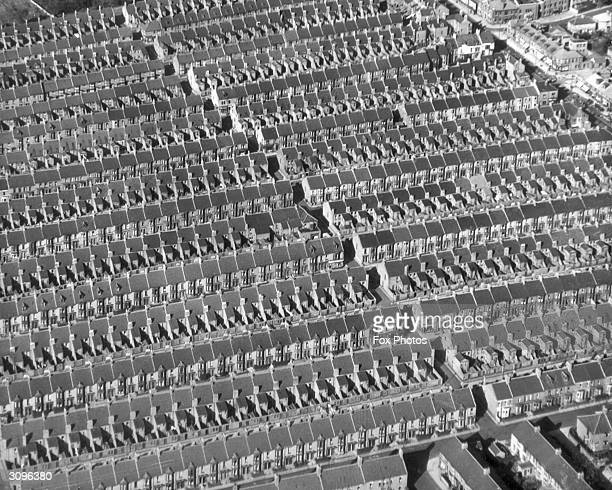 Row upon row of identical terraced houses in ScotswooduponTyne Northumberland