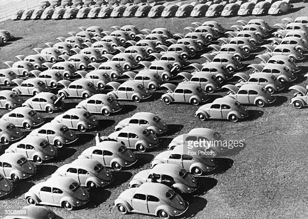 Rows of ' Beetle ' cars at a German Volkswagen plant