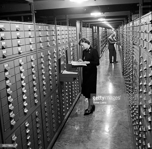 Stacks at the National Archives in Washington where amongst other things rare photographs and national records are ordered and stored
