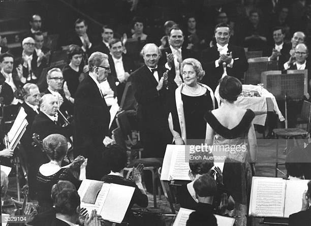 Standing from left to right German conductor Otto Klemperer German chorusmaster Wilhelm Pitz Swiss tenor Ernst Haefliger Magda Hoffgen German...