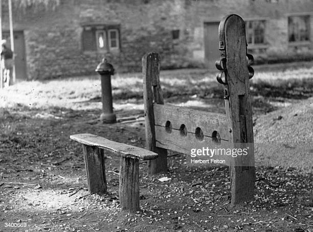 Stocks and a whipping post on a village green at Rutland