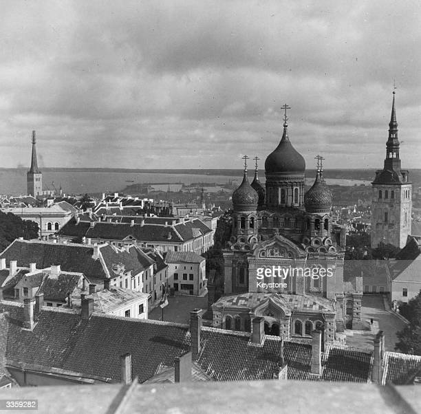 The coastal town of Tallin Estonia dominated by the Byzantine domes of Newski Cathedral in the foreground