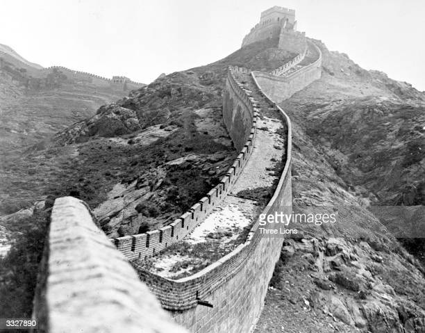 The Great Wall of China which was built to protect against Mongols and Huns runs for 1550 miles is 50 ft high and 1520 feet wide with a watch tower...