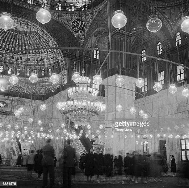 The interior of the Mohammed Ali mosque in the grounds of the Citadel of Cairo with its decorated ceilings