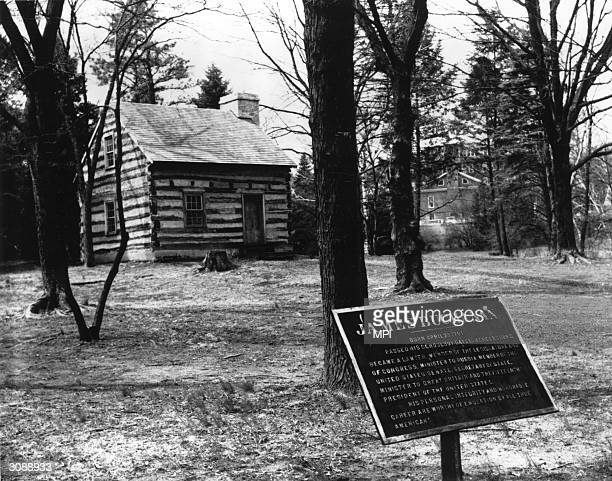 The modest log cabin near Mercersburg Pennsylvania where US president James Buchanan was born in 1791 The cabin now stands on the campus of...