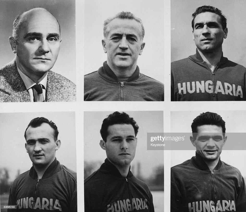 The President of the Hungarian Football Association, Sendor Barcs (top left), with members of the Hungarian national football team; (left to right) (top) Lajos Baroti, Gyula Grosics (bottom), Istcan Ilku, Antal Szentmihalyi, Sandor Matrai.