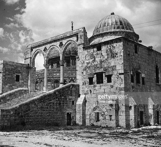 The side entrance to the Omar Mosque, or Dome Of The Rock, properly called Bab El Silsileh, in Jerusalem. The mosque is built on the site of the...