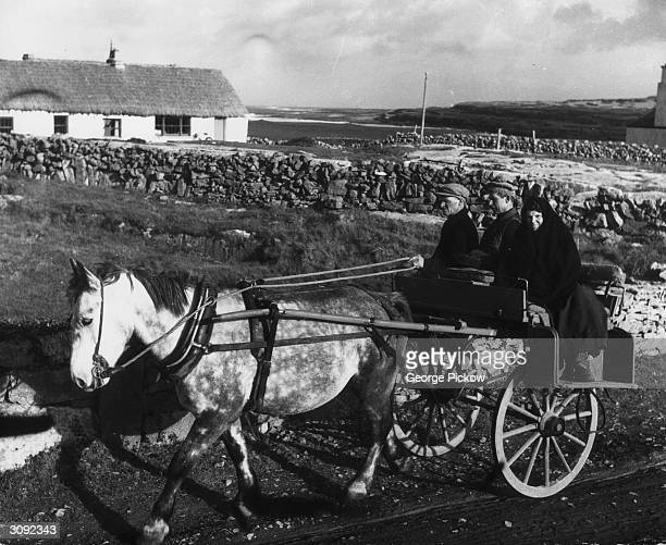 Transportation on the Aran Islands in the mouth of Galway Bay County Galway is by a pony drawn cart
