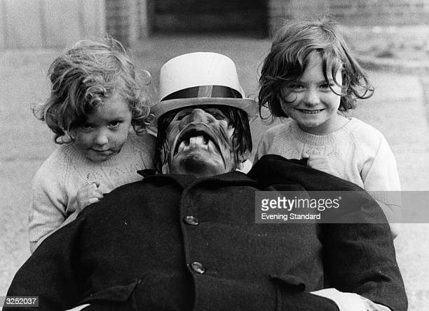 Two Islington girls display their effigy of Guy Fawkes