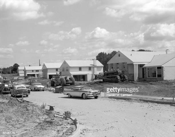 View of a suburban housing development under construction