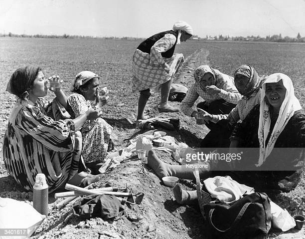 Women agricultural workers enjoy their lunchbreak on a collective farm near Samarkand in the soviet republic of Uzbekistan in the USSR