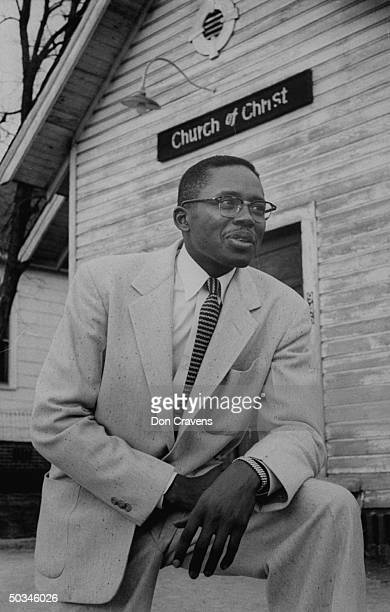 Fred Gray stands in front of the Newton Church of Christ on Ferguson Street in Montgomery Alabama where he served as a minister while beginning a law...