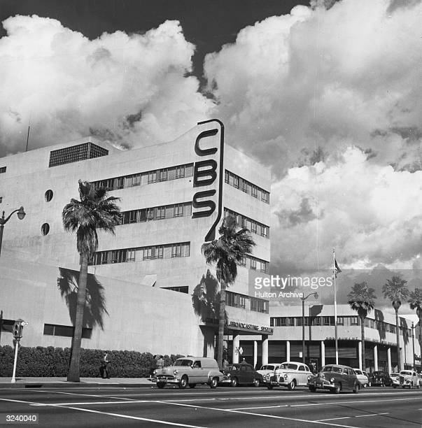 Exterior view of the CBS television network building on Sunset Boulevard, Hollywood, California.