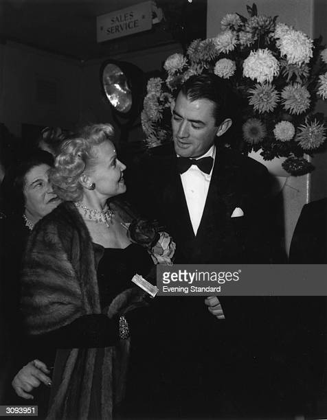 Gregory Peck and his first wife Greta Rice stepping out together. Married in 1942, they divorced in 1955.